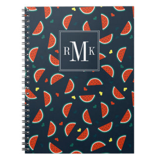 Watermelon Slices with Hearts Pattern Spiral Notebook