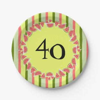 Watermelon Stripe Classic 40 Age paper plates