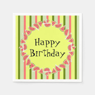 Watermelon Stripe Classic Happy Birthday Disposable Napkin