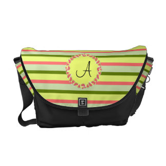 Watermelon Stripe Classic 'Monogram' medium Commuter Bag