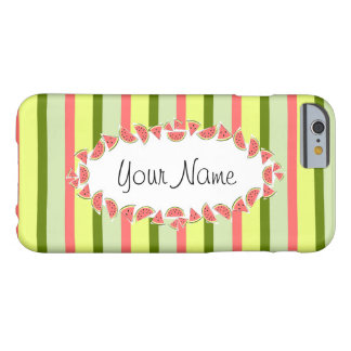 Watermelon Stripe Classic oval 'Name' horizontal Barely There iPhone 6 Case