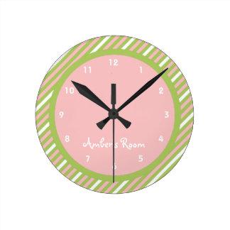 Watermelon Stripe Kid's Bedroom Round Clock