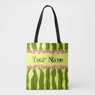 Watermelon Stripe Name tote bag