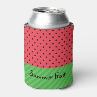 Watermelon summer fruit customizable pink polka can cooler