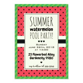 Watermelon summer pool party invitation polka dots