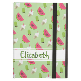Watermelon Summer Treat Pattern with Name iPad Air Covers