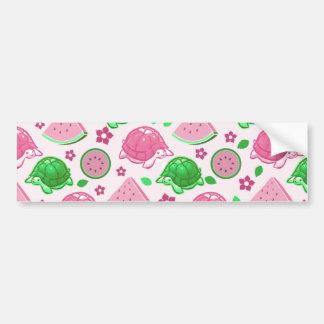 Watermelon Turtles Pattern Bumper Sticker