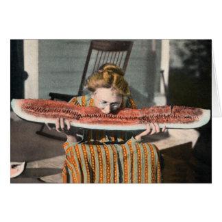 Watermelon vintage photo card