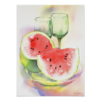 Watermelon watercolor poster