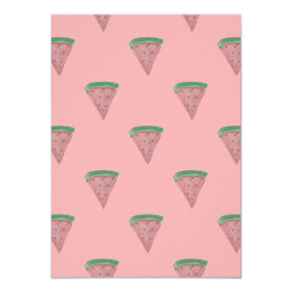Watermelon Wedges in Watercolors on Rosy Pink 11 Cm X 16 Cm Invitation Card