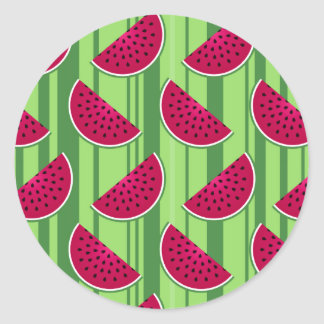 Watermelon Wedges Pattern Classic Round Sticker