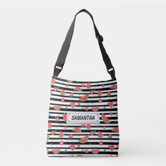 Watermelons and stripes crossbody bag