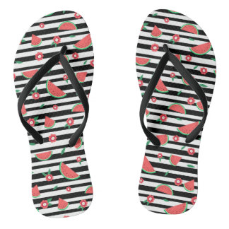 Watermelons and stripes flip flops