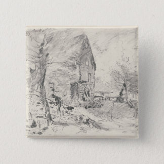 Watermill at Newbury (pencil) 15 Cm Square Badge