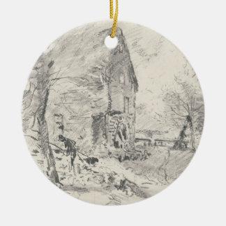 Watermill at Newbury (pencil) Christmas Ornament