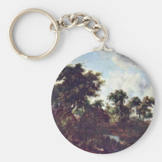 Watermill By Hobbema Meindert Basic Round Button Key Ring
