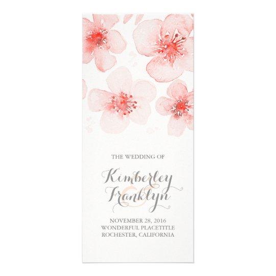 Waterolor Flower Botanical Pink Wedding Programs Customised Rack