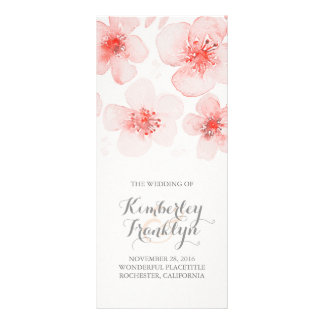 Waterolor Flower Botanical Pink Wedding Programs Rack Card