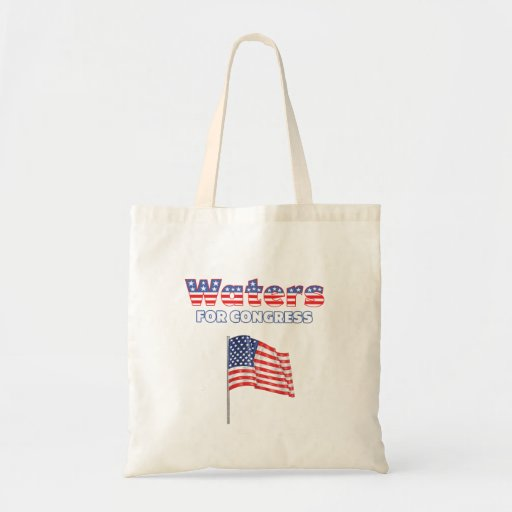 Waters for Congress Patriotic American Flag Design Canvas Bag