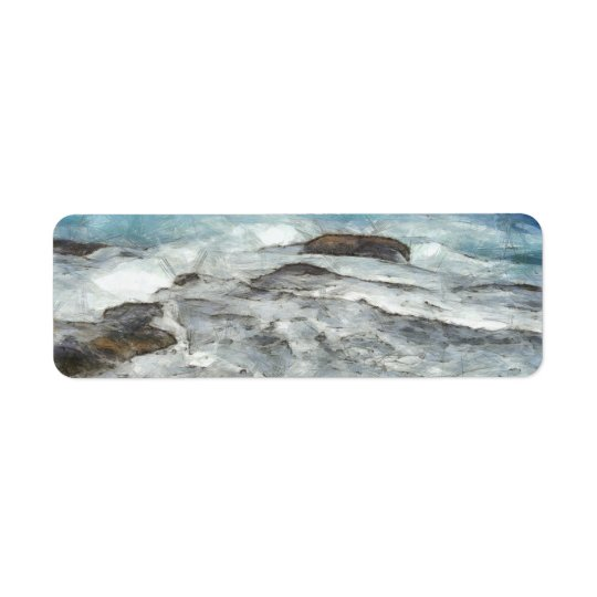 Waters furiously covering rocks return address label