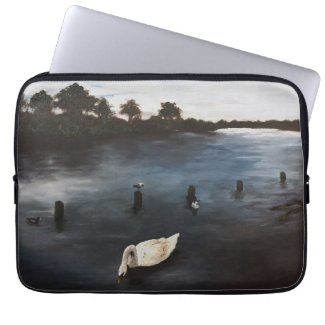 Waterscape river painting swan lake art laptop sleeve