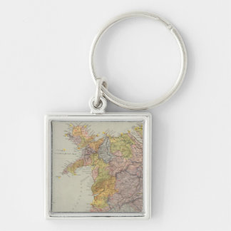 Watershed map England, Wales 3 Silver-Colored Square Key Ring