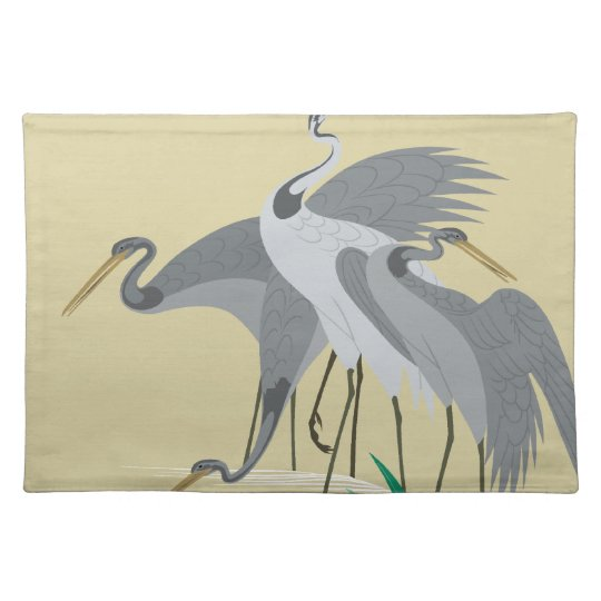 Waterside birds depicted in Japanese pattern Place Mat