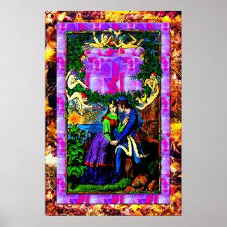 Waterside fantasy mythical garden Print