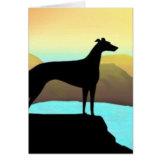 Waterside Greyhound Dog Landscape Card