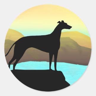 Waterside Greyhound Dog Landscape Classic Round Sticker