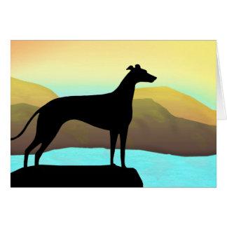 Waterside Greyhound Dog Landscape Greeting Card