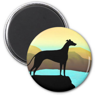 Waterside Greyhound Dog Landscape Magnet