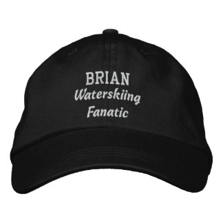 Waterskiing Fanatic Custom Name V08I Embroidered Hat