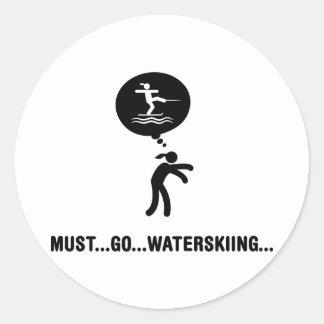 Waterskiing Round Sticker