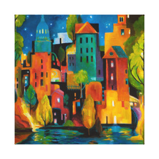 Watertown cityscape by Karen Gillis Taylor Gallery Wrapped Canvas