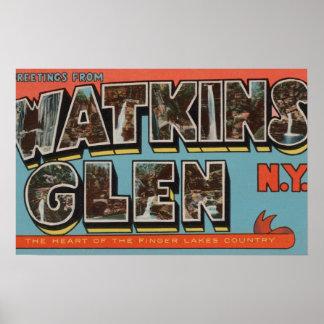 Watkins Glen, New York - Large Letter Scenes Poster