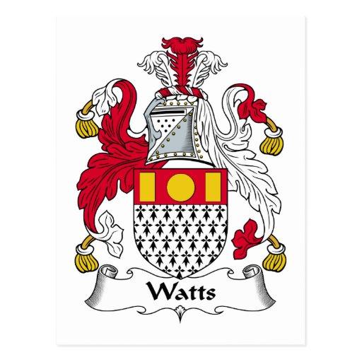 Watts Family Crest Postcards