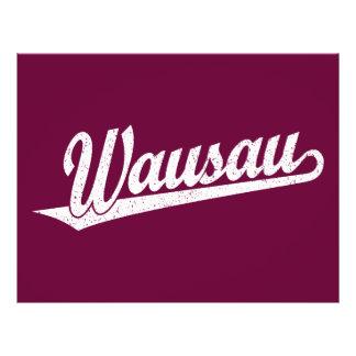 Wausau script logo in white distressed flyers