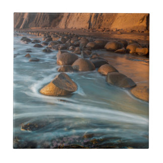 Wave along the beach, California Small Square Tile
