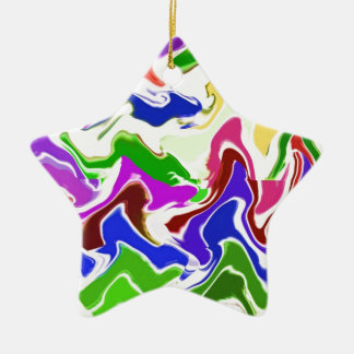 Wave Artistic Sensual TEMPLATE easy add TEXT IMAGE Christmas Tree Ornament