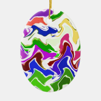 Wave Artistic Sensual TEMPLATE easy add TEXT IMAGE Double-Sided Oval Ceramic Christmas Ornament