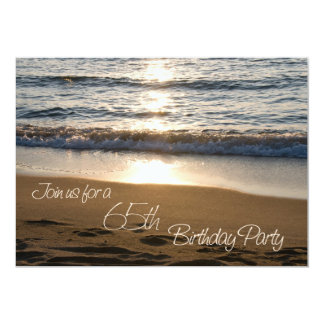 Wave at Sunset 65th Birthday Party Invitation Card