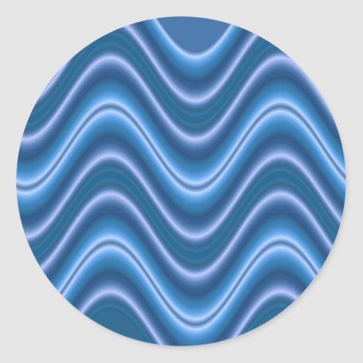 wave blue round sticker