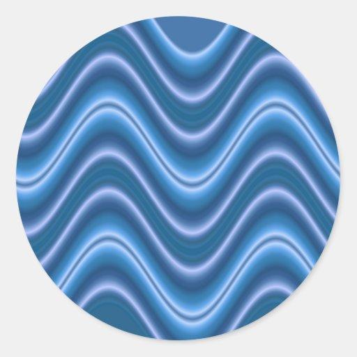 wave blue round sticker
