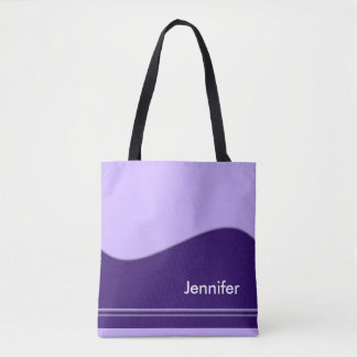 Wave Border violet + your backgr. & ideas Tote Bag