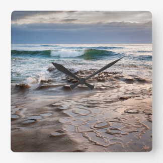 Wave breaking on beach, California Square Wall Clock