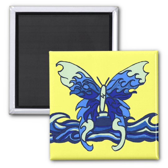 Wave butterfly square magnet