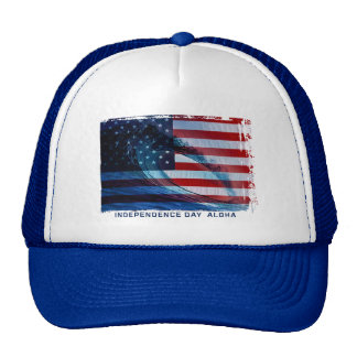 Wave Flag USA Trucker Hats