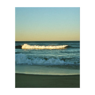 Wave lit by the evening sun on canvas stretched canvas prints