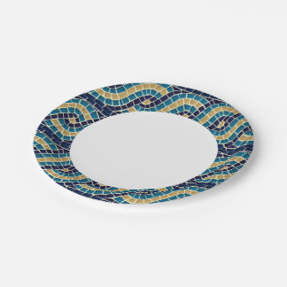 Wave Mosaic Pattern 7 Inch Paper Plate